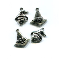 witch face hat charms halloween antique silver tone 4 piece lot #supply659