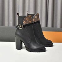 lv louis vuitton trending womens black leather side zip lace up ankle boots shoes high boots 194