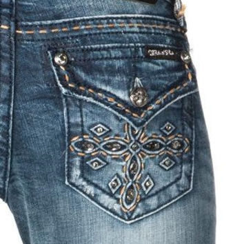 Miss Me Puffed Western Cross Boot Cut Jeans