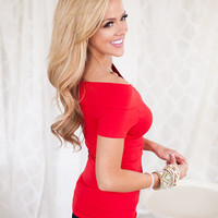 Cap Sleeve Off The Shoulder Seamless Top RED