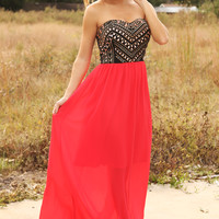 Dinner For Two Maxi Dress: Black/Hot Coral
