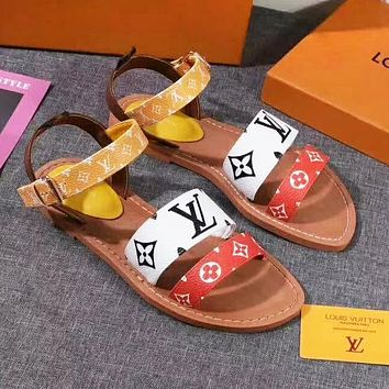 Louis Vuitton LV Hot Sale Women Fashion Leather Sandals Shoes