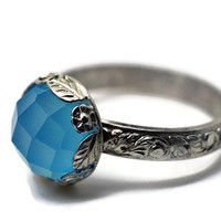 Blue Chalcedony Ring, Spring Engagement Ring, Renaissance Ring, Bright Blue Gemstone Jewelry