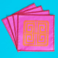 Blush Label Greek Key Cocktail Napkins - Magenta