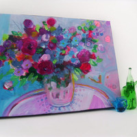 """Abstract Summer Floral Painting on Small Canvas Original Modern Art """"Bouquet in a Blue Room"""""""