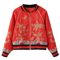 Red Stripe Detail Floral Bomber Jacket