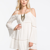 Patrons Of Peace Cold Shoulder Dress Cream  In Sizes