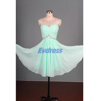 2015 short mint chiffon prom dresses with rhinestones,chic cheap homecoming dress under 150,cute women gowns for cocktail party.