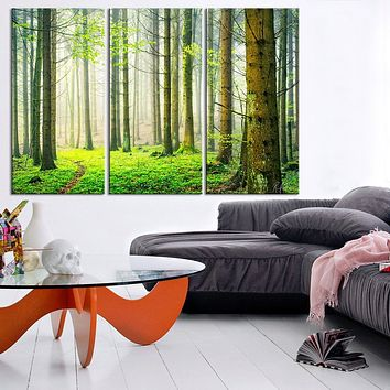 Large Wall Art Green Forest Scenery Photo on Canvas Print Spring Scenery 3 Panel Canvas Art For