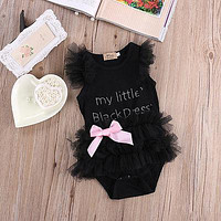 Lace Tulle Ruffles Bow Cotton Romper Jumpsuit Outfits
