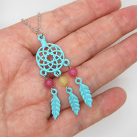 Dream Catcher Necklace  /  Twilight Inspired /  Blue Feather Necklace / Native American Jewelry
