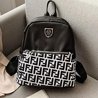 FENDI Newest Women Sport College Shoulder Bag Travel Bag School Backpack Black&White