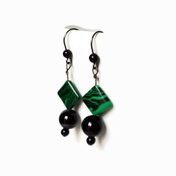 Green and Black Earrings, dangle earrings of Malachite and Black Onyx, Handmade, OOAK and Free shipping
