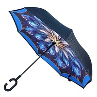 Galaxy Flower Double Layer Inverted Umbrella | Innovative Design Keeps the Wet Side Inside | C-Shaped Handle Stays on Your Wrist