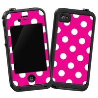 White Polkadot on Hot Pink Protective Decal Skin for LifeProof 4/4S Case