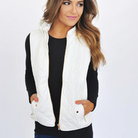 Quilted Hooded Vest- White