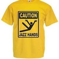 CAUTION JAZZ HANDS T-SHIRT Funny Ladies Kids Mens All Sizes Dancing Glee Yellow