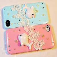 iphone 4s case, little dolphin lace iphone 5 cover iphone 4 case iphone 5 - lace iphone 4 case