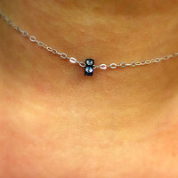 Simple Necklace / Charm Necklace / Choker Necklace / Sterling Silver Necklace / Layering Necklace