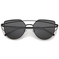 Women's Retro Modern Flat Mirror Lens Sunglasses A898
