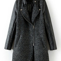 Plaid Texture Leather Sleeve Notched Collar Woolen Coat