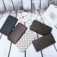 Tagre LV Women Leather Print Multicolor Wallet Purse