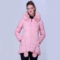 2017 Winter Parkas Women Jacket Cotton Midties Long Coat Thick Winter Coat Woman Slim Female Outerwear Women Parka Snow Wear