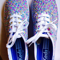 Custom Keds Triangle Print Canvas Shoes - Free Shipping