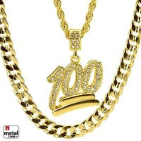"""Jewelry Kay style Hip Hop NEW 100 Emoji Pendant 22"""" Rope & 30"""" Concave Cuban Heavy Chain MHC 24 G"""