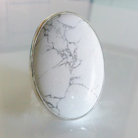 White Howlite  Ring Handmade a large Oval gemstone and  Sterling Silver using as Statement. Cocktail, handcrafted Fashion Jewelry