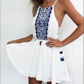 Sling Print Chiffon Dress