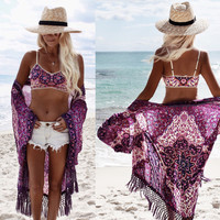 Bikini Blouse Hot Sale Chiffon Print Beach Jacket [11119386959]