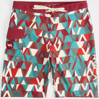 Rvca Tris Mens Boardshorts Red  In Sizes