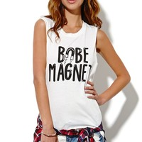 Petals and Peacocks Babe Magnet Muscle T-Shirt - Womens Tee - White