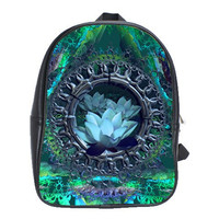 Secret Lotus Garden Fractal Art large mini-Backpack Leather -Zen mandala sacred geometry STOCK
