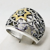 Silver Ring with a gold Shield - Star of David