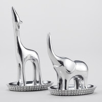 Pewter Elephant and Giraffe Ring Holder, Set of 2 - World Market
