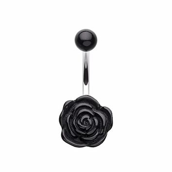 Simple Rose Bloom Belly Button Ring