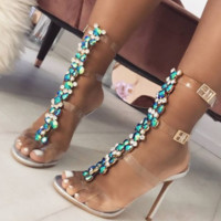 Hot style color diamond chain transparent PVC high heel sandals