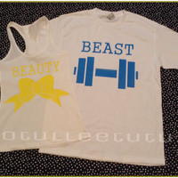 Super Cute Beaytu and The Beast Matching Couples Tshirts or Tanks White with Yellow and Blue Image