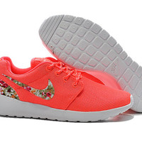 custom nike free roshe run athletic women shoes coral with fabric floral