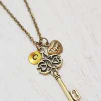 personalized necklace, thank you gift, skeleton key necklace, bridesmaid necklace, appreciation gift, best friend necklace, sister necklace