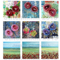 Square tiles 2.25 inch - fabric art images - digital collage sheet - letter size