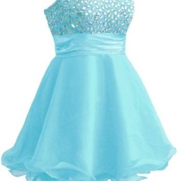 Faironly Wb2 Crystal Cocktail Homecoming Short Dress (XS, Turquoise)