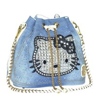 2017 Fashion Bucket Denim Bag High Quality Handbags kitty Shoulder Bag Diamonds Women luxury handbags women bags designer