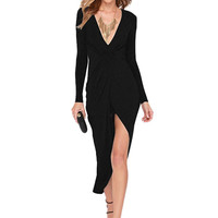 Deep V Neck Asymmetric Dress in Black