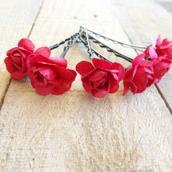 Red Rose Wedding Hair Pins,  Bridal Hair Pins, Hair Accessories, Fabric Hair Pins, Bridesmaid Hair, Woodland - Set of 6