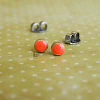 Gold and Orange Mini Post Earrings Circle Porcelain Stud Earrings Hypoallergenic Round Ceramic Tiny Pottery Jewelry