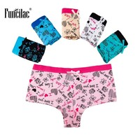 FUNCILAC Woman Underwear Print Boyshort Sexy Briefs Cute Bowknot Underpants Girls Panties Ladies Cotton Knickers 5Pcs/Lot