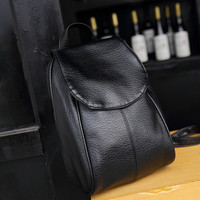 Casual Black Leather Travel Bag Vintage Backpack Daypack School Bag